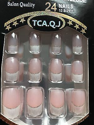24 White Glitter French Pink  Bridal  False Full Cover Nails