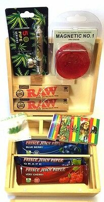 Smoking Wooden Stash Rolling Box Roaches RAW King Size Papers Mat Grinder Pipe