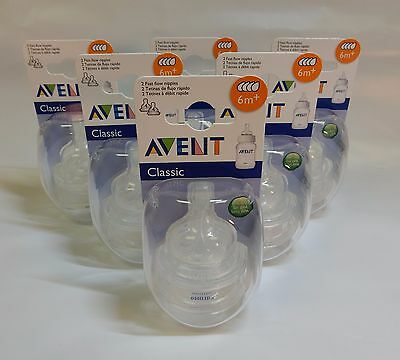 Philips AVENT 6 x 2-PACK Classic+ FAST FLOW NIPPLES 6m+ BPA Free