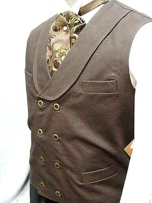 Frontier Classics vest brown double breasted Old West Cowboy western men's S-3X