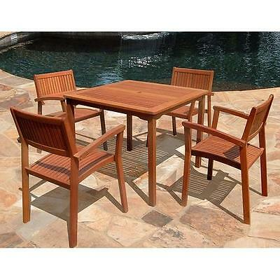 5 Piece Outdoor Wood Dining Set Vifah FREE SHIPPING (BRAND NEW)