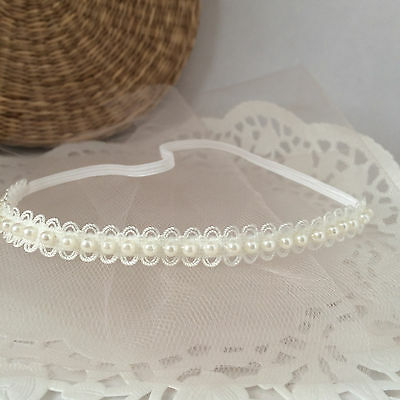 Baby hair band, ivory lace tiara headband for christening baptism UK handmade