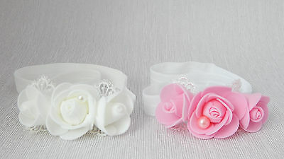 Christening baby headband, three white pink roses wedding hair band Handmade
