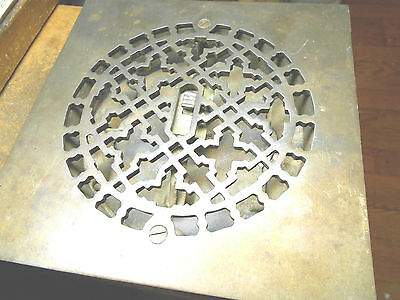 """8-5/8"""" Square Ornate Cast Iron Heating / Air Grate Floor Vent For 7"""" Duct"""