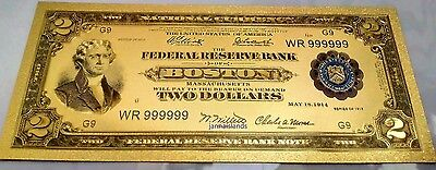 Gold Banknote Color 1918 Model $2,very nice goldfoil gift or collection
