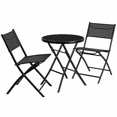 Metal and Tempered Glass 3 Piece Bistro Set Flash Furniture FREE SHIPPING