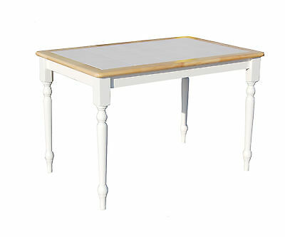 Tara Tile Top Dining Table in White and Natural TMS FREE SHIPPING (BRAND NEW)