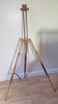 VINTAGE WOODEN BEECH Field Travel PORTABLE TELESCOPIC TRIPOD ARTISTS EASEL