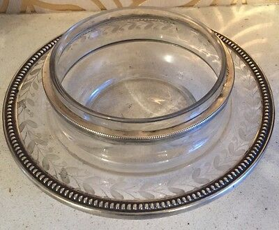 Beautiful Antique French Silver Rimmed Glass Dish - Stunning!