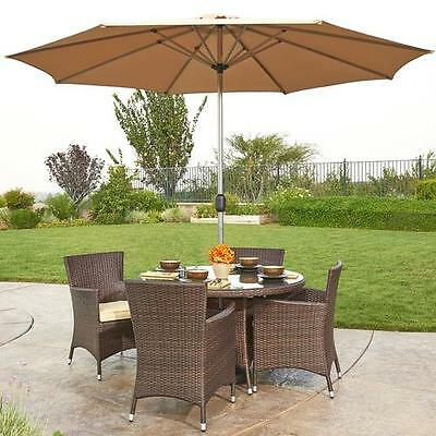 Gita 6 Piece Outdoor Wicker Dining Set with Cushions and Umbrella W Unlimited