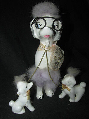 Vintage Poodle Mum w/ glasses & Puppies Chained Figurines Porcelain Dogs