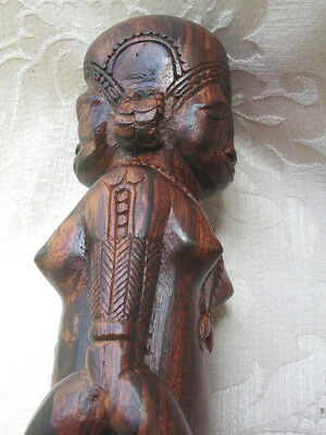 Fertility Semi Nude Woman Double Sided Wood Statue African / Asian 26CmT