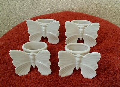 F & F Porcelain Butterfly Napkin Rings Fitz & Floyd Set of 4 Made in Japan