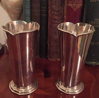 Beautiful Pair Of Atkin Brothers Epns Trumpet Vases