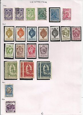 LIECHTENSTEIN stamps - 3 pages of used/mint-1917-2001