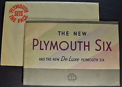1934 Plymouth Catalog Brochure + Envelope Six & DeLuxe 6 Excellent Original 34