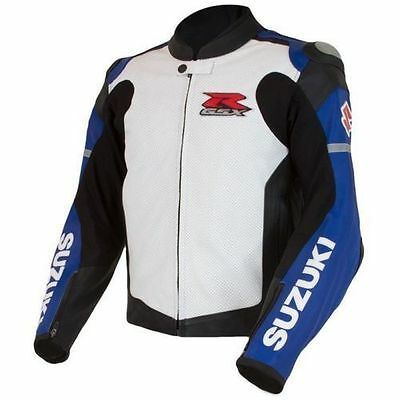 Suzuki Gsxr New Motorcycle Leather Blue Racing Jacket Ce Approved All Sizes