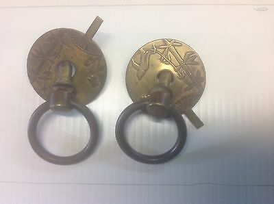 Outstanding Pair of very nice brass drop handle drawer pulls with decorations .