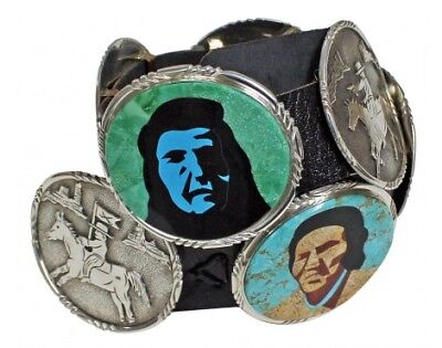 Calvin Desson, Concho Belt, Indian Warriors, Story Teller, Navajo Made, 47 in