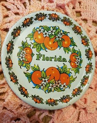 Set OF 4 VINTAGE METAL COASTERS - FLORIDA Orange DESIGN - SOUVENIR