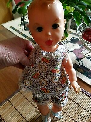 Vintage Rubber Gerber Baby Doll 1965 Squeaker Works Eyes Close