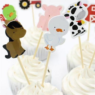 24 pcs Birthday Party Favors Kids Farm Animal Cake Decor Cupcake Toppers Picks