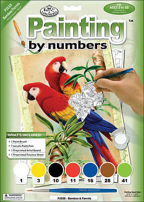 """Junior Small Paint By Number Kit 8.75""""X11.75"""" Bamboo & Parrots PJS38"""