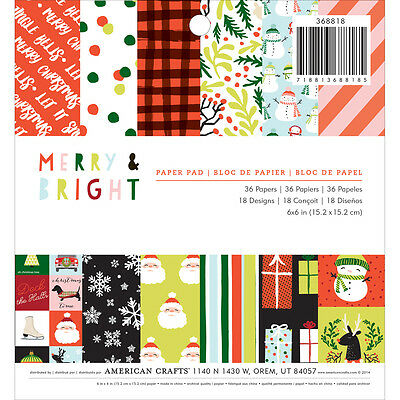 "American Crafts Single Sided Paper Pad 6""X6"" 36/Pkg Merry & Bright 340495"