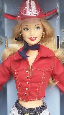 BARBIE Western Chic Collector Edition Doll 2001 Blonde Cow Girl Figure Nice!!!!!
