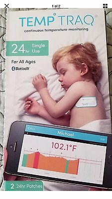 2 PACK TEMP TRAQ Cont. Temperature Tracking 24 HR PATCHES BLUETOOTH THERMOMETER
