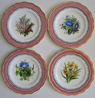 "Felspar Style Old English 9"" Pink Porcelain Flower Plates Set of 4"