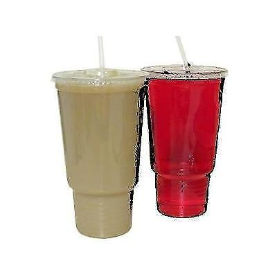 32 Oz. Cafeteria Size Clear Cups with Lids for Iced Coffee Bubble Boba Tea