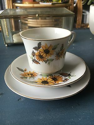 Mint! Pretty Vintage Fine China Tea Cup Trio With Sunflowers!