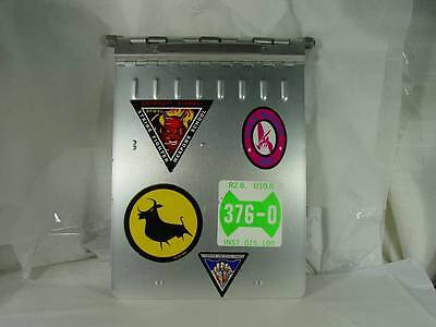 """Vintage CLIPBOARD 12"""" X 9"""" US Military Aluminum Industrial Badge Holder Stickers"""
