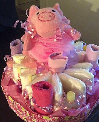 Pink/pastel diaper cake for a girl