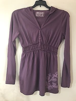 Motherhood Maternity Puple Long Sleeve Hoodie Top Shirt Floral Accent sz Medium