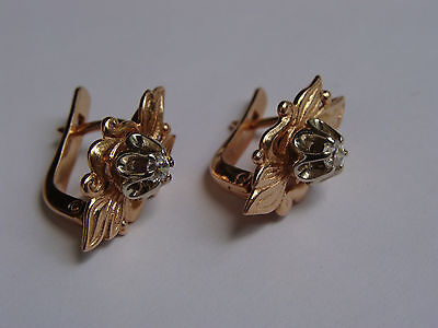 RUSSIAN 14K 585 ROSE AND WHITE GOLD CZ EARRINGS 5.62g