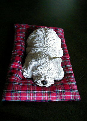 """Sandicast White Terrier Dog Figurine With His Bed  """"Twitch""""  by Sandra Brue"""