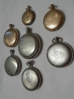 Lot Of 7 Pocket Watch Cases & Partial Cases Railroad Mixed Size Free Shipping!