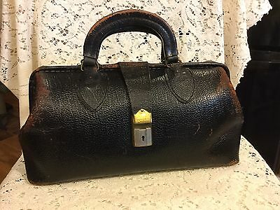 Antique Schell Doctors Bag Black Leather