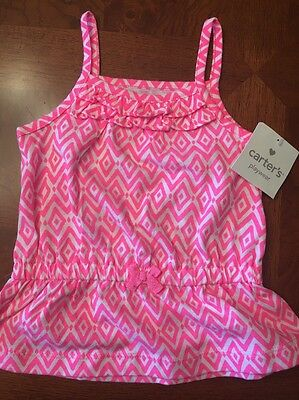 NWT- Infant Girls Carter's Pink And White Sleeveless Top-Size 12 Months