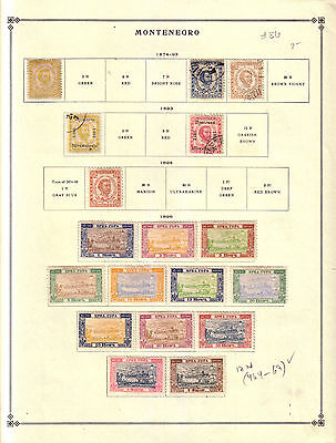 1874-1941 Montenegro Classic Old Collection 87 Stamps on 7 Page Don't Miss!!