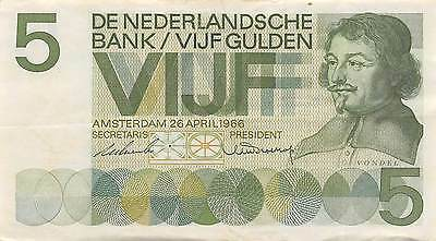 Netherlands  5  Gulden  26.4.1966  Series 1 TH  Circulated Banknote LB0617j