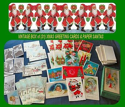Xmas Card Box  of (31) Mixed Unused Cards & Paper Elf Santas 1940's and 50's.
