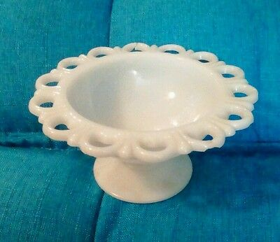 """Vintage white milk glass 7"""" pedestal bowl with cut outs"""