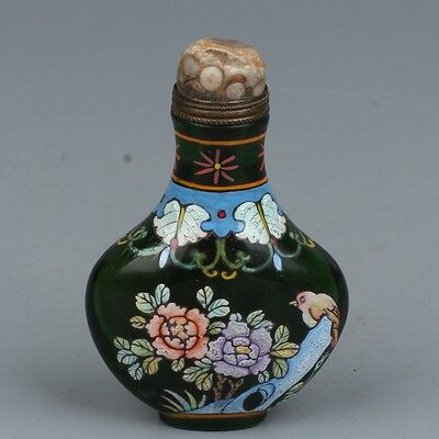 Chinese Exquisite Hand-Painted Flower & bird pattern Glass snuff bottle