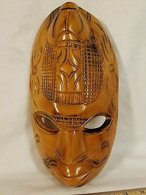 Vintage 1950's Hand Carved New Guinea Ceremonial Mask Wall Hanging Nice Piece!