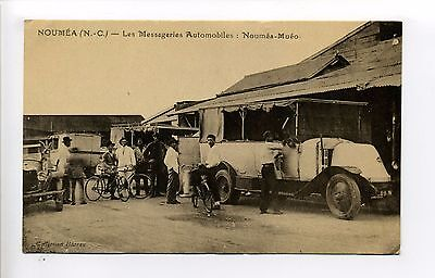 New Caledonia antique postcard, Nouméa street view, old truck, bicycles, 1942