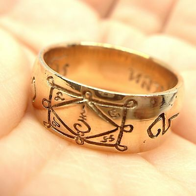Size 9 Occult Ring LP Kuay Yant Sacred Copper Thai Buddha Amulet Talisman Lucky
