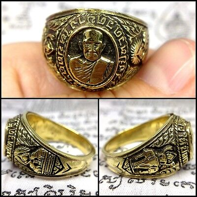 Size 12 Magic Ring LP Tuad Brass Thai Buddha Amulet Talisman Lucky Wicca Ghost